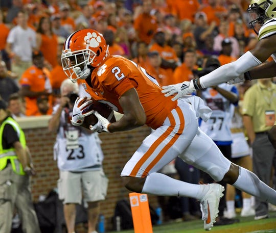 Clemson wide receiver Frank Ladson Jr. catches his first touchdown in the fourth quarter against Georgia Tech on Thursday, August 29, 2019.