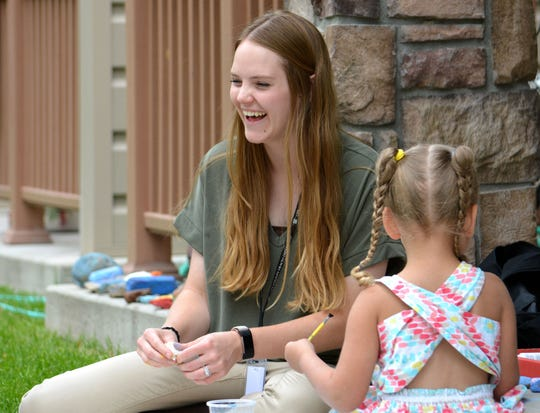 Ellie Crabtree, home visitor for the Cascade City-County Health Department, works with families on a daily basis as part of the First Years Initiative that launched in 2018. Crabtree spends a recent afternoon bonding with a young child while taking in a painting art project.