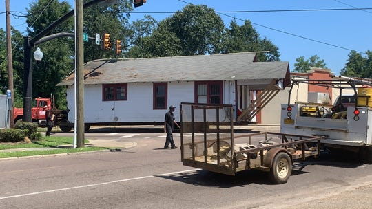 The home of the late Oseola McCarty was moved Friday, Aug. 30, 2019, from Miller Street to Museum Row on Sixth Street.