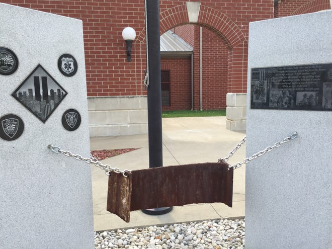 The 9-11 Memorial with piece of steel from World Trade Center is seen at Henderson Fire Station No. 3, also known as Starlite Station.