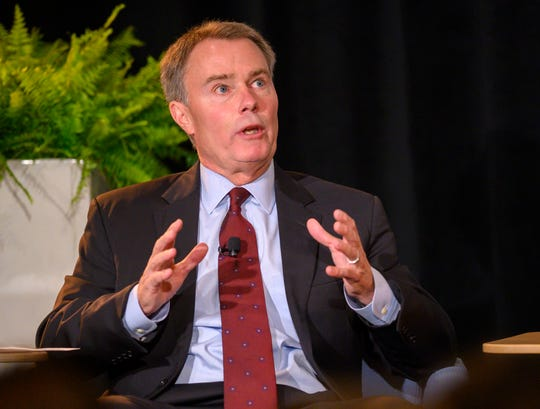 Incumbent Democrat Joe Hogsett responds to Hayleigh Colombo's question. The first Indianapolis mayoral debate of incumbent Democrat Joe Hogsett and Republican state Sen. Jim Merritt was held at Crowne Plaza in Indianapolis, Thursday, Aug. 29, 2019. Indianapolis Business Journal city government reporter Hayleigh Colombo moderated the event.