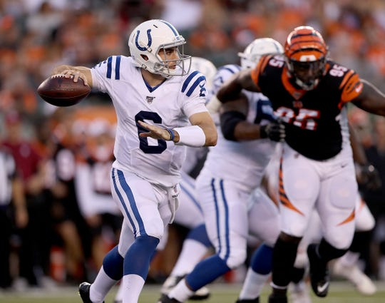 Indianapolis Colts quarterback Chad Kelly (6) scrambles out of the pocket in the second quarter of their preseason football game at Paul Brown Stadium in Cincinnati, OH., on Thursday, Aug 29, 2019.