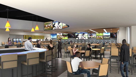 A rendering of Winner's Circle Race, Sports, Pub sportsbook in Downtown Indianapolis.