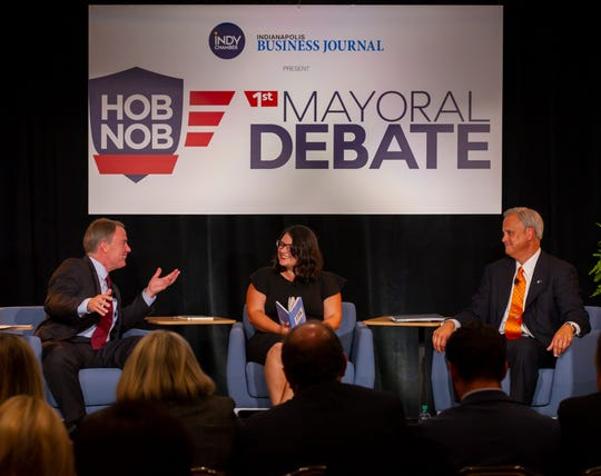 The first Indianapolis mayoral debate of incumbent Democrat Joe Hogsett and Republican state Sen. Jim Merritt was held at Crowne Plaza in Indianapolis, Thursday, Aug. 29, 2019. Indianapolis Business Journal city government reporter Hayleigh Colombo moderated the event.