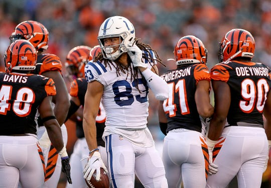 Indianapolis Colts wide receiver Krishawn Hogan (83) in the second quarter of their preseason football game at Paul Brown Stadium in Cincinnati, OH., on Thursday, Aug 29, 2019.