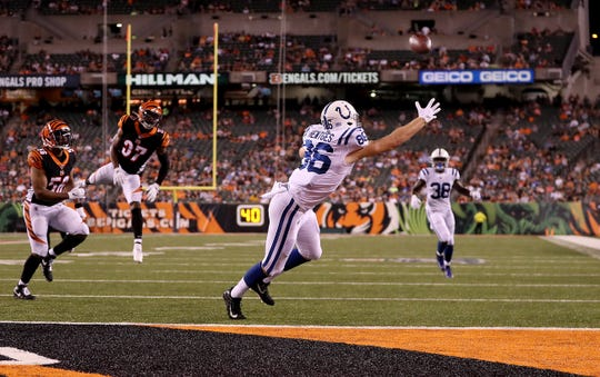 Indianapolis Colts tight end Hale Hentges (86) reaches for this Phillip Walker pass in the third quarter of their preseason football game at Paul Brown Stadium in Cincinnati, OH., on Thursday, Aug 29, 2019.