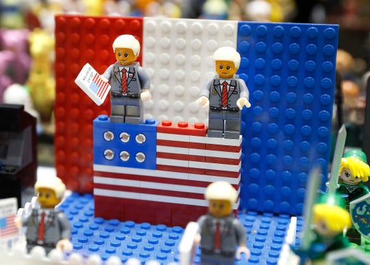 President Donald Trump LEGO figures at the Indiana Comic Convention. Comic Con, which runs Aug. 30 to Sept. 1, features a wide-spectrum of interests including comic books, magazines, toys, games, Star Wars, Star Trek, anime, manga, cosplay, artwork, sketches and apparel. In addition, a roster of comic industry professionals, and comicdom-related celebrities at the Indiana Convention Center on Friday, Aug 30, 2019.