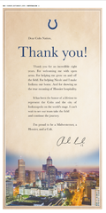 Andrew Luck's thank you letter to Colts Nation, which is on Page 14B of the Indianapolis Star on Sunday, Sept. 1.