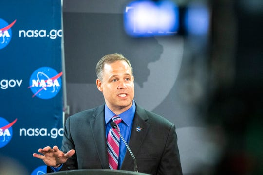 NASA Administrator Jim Bridenstine speaks during a press conference after visiting with U.S. Sen. Chuck Grassley, R-Iowa, and U.S. Rep. Dave Loebsack, D-Iowa, on a tour of technologies at Van Allen Hall, Friday, Aug. 30, 2019, on the University of Iowa campus in Iowa City, Iowa.