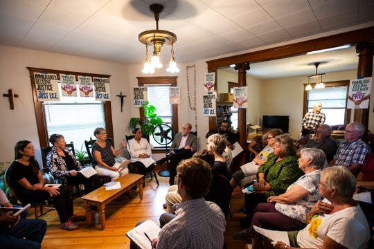 U.S. Rep. Dave Loebsack, D-Iowa, meets with members of the Catholic Worker House and Iowa Citizens for Community Improvement, Friday, Aug. 30, 2019, at the Catholic Worker House in Iowa City, Iowa.