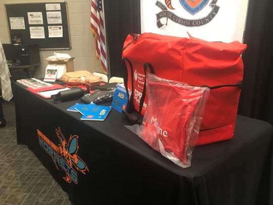 The new equipment for hands-on CPR education sits on a table for display before some of the students entered the library at South Gibson to see it on Wednesday, Aug. 28, 2019.