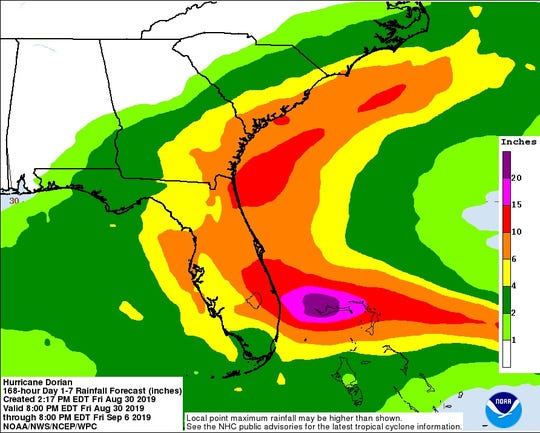 Rainfall potential from Hurricane Dorian.
