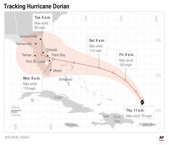 Map shows Hurricane Dorian's projected path as of Aug. 29, 2019.