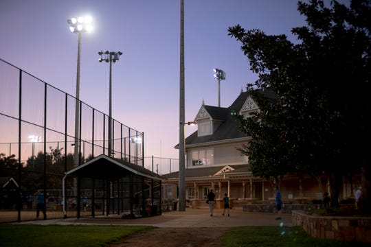 The sun sets over Sam Anderson Pavilion in Caswell Park on Aug. 29.
