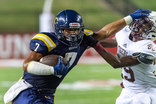 Bears runningback Kendrell Williams runs the ball as The Carencro Bears take on The Breaux Bridge Tigers in the 2019 Kiwanis Jamboree at Cajun Field. Thursday, Aug. 29, 2019.