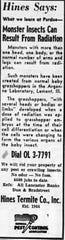 Article run by a local exterminator in the August 5, 1959 Lancaster Eagle-Gazette.