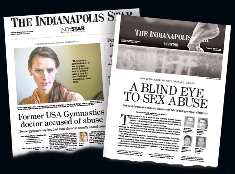 Rachael Denhollander spoke out about Larry Nassar's abuse after reading a report in The Indianapolis Star detailing how USA Gymnastics had covered up sexual abuse complaints against coaches for decades.