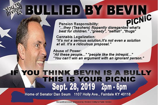 "A Facebook event inviting those who feel ""bullied"" by Gov. Matt Bevin to a catered picnic at the home of Republican state Sen. Dan Seum."