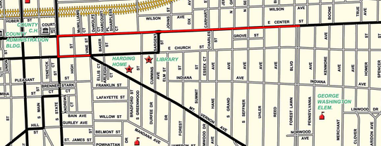 The Marion Popcorn Festival parade will begin at the intersection of Forest Lawn Boulevard and East Center Street, make its way west on Center to downtown Marion, and thenturn left (south) onto State Street.The route will then take the parade left (east) onto Church Street and end at the junction of Vine Street and Mount Vernon Avenue. The route is indicated by the red line.