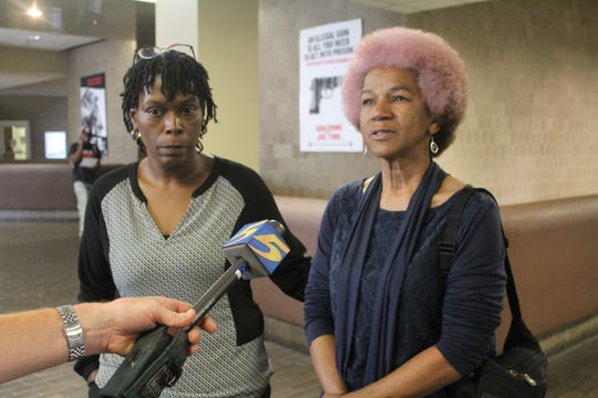 Sheila Perkins, right, and and Jeneen Hill speak during a press conference on Friday, Aug. 30, 2019, after no charges were filed in the 2018 police shooting of D'Mario Perkins.