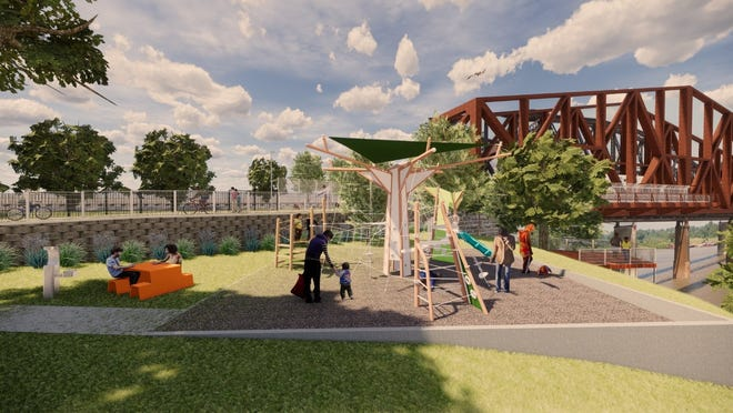 Church of the River is planning a playground and other amenities by Big River Crossing. Here, a conceptual rendering created by church member Kate Haywood of brg3s architects shows how a portion of the playground might ultimately look.