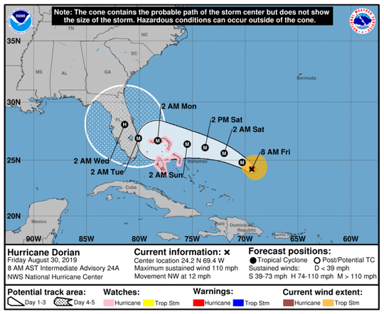 Probable path of Hurricane Dorian as of 8 a.m. of Aug. 30, 2019