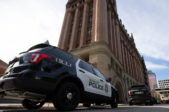 A Milwaukee police squad car outside the City Hall.