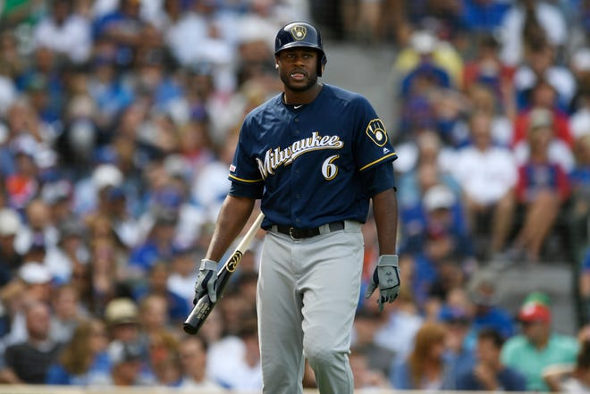 Lorenzo Cain strikes out in the fifth inning.