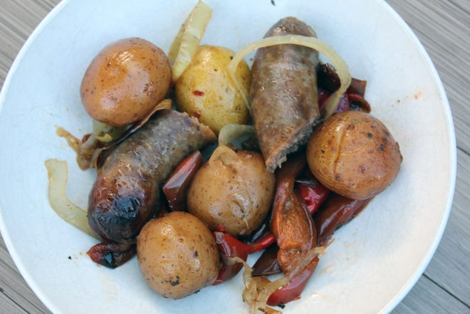 Potatoes and sausages are the star of this easy prep-ahead family meal.