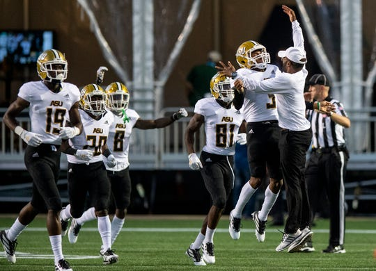 Alabama State running back Duran Bell (3) celebrates a long touchdown run against University of Alabama Birmingham at Legion Field in Birmingham, Ala., on Thursday August 29, 2019.
