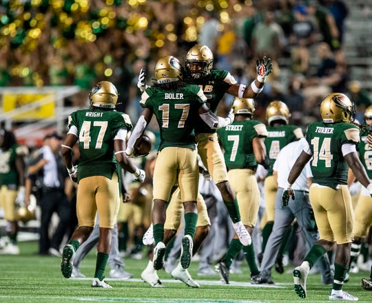 UAB safety Will Boler (17) celebrates his late interception against Alabama State at Legion Field in Birmingham, Ala., on Thursday August 29, 2019.