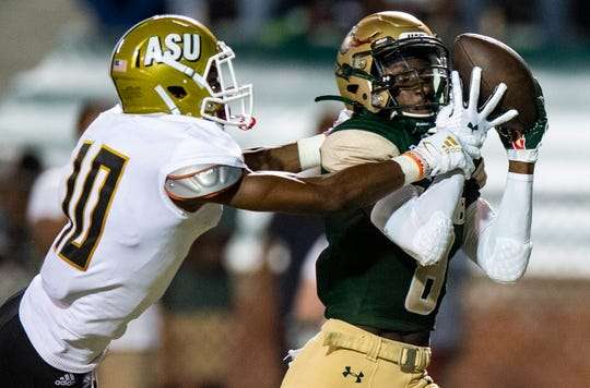 UAB receiver Kendall Parham (8) catches a touchdown pass again st Alabama State defensive back Keenan Isaac (10) at Legion Field in Birmingham, Ala., on Thursday August 29, 2019.