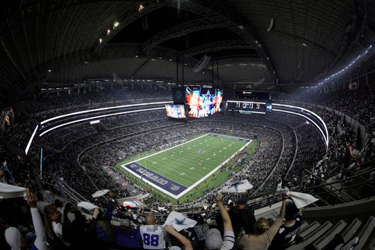 AT&T Stadium during a Dallas Cowboys game in Arlington, Texas.