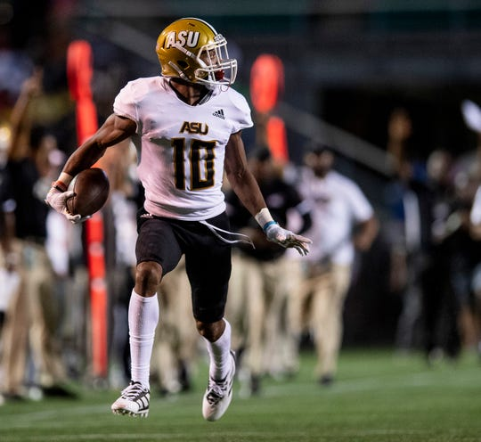Alabama State defensive back Keenan Isaac (10) returns an interception against University of Alabama Birmingham that was called back because of a penalty at Legion Field in Birmingham, Ala., on Thursday August 29, 2019.