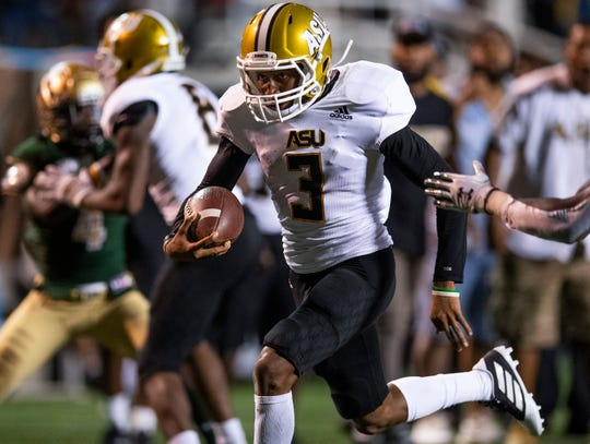 Alabama State running back Duran Bell (3) carries for a big gain against University of Alabama Birmingham at Legion Field in Birmingham, Ala., on Thursday August 29, 2019.