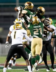 UAB safety Will Boler (17) intercepts a pass against Alabama State late in the game at Legion Field in Birmingham, Ala., on Thursday August 29, 2019.