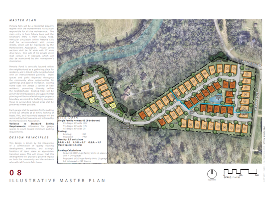 This master plan for the Pretoria Falls subdivision shows 60 homes on 10.6 acres on Asbury Lane, Asbury Road and along Overall Creek and its floodway. The Murfreesboro Planning Commission will hold a public hearing on the zoning and annexation for the project Wednesday.