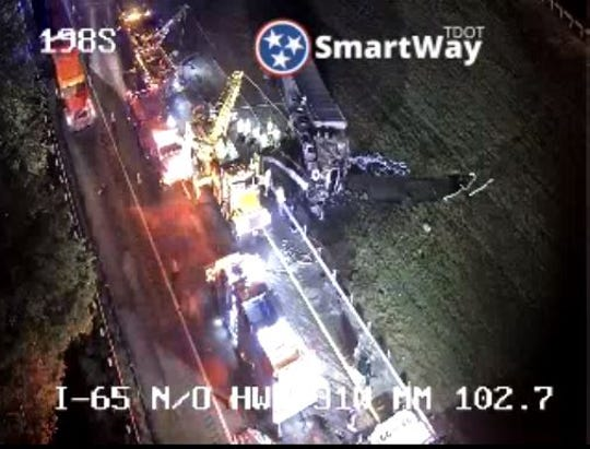 A crash involving a cargo fire and overturn vehicle has shut down I-65 southbound Friday, Aug. 30, 2019. Crews have opened up the should to allow thru traffic.