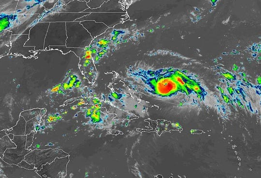 Satellite image of Hurricane Dorian in the Atlantic. The storm became a Category 3 hurricane Friday, Aug. 30, 2019
