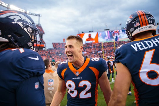 Denver Broncos tight end Jeff Heuerman (82) of Barron Collier against the Kansas City Chiefs at Broncos Stadium at Mile High in Denver in 2018.
