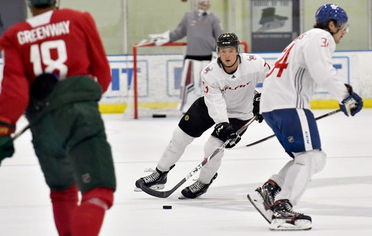 "Charlie McAvoy of the Boston Bruins during the Belfry Hockey ""Tactics & Tune-Up"" Camp with other NHL Standouts at the Hertz Arena on Friday, Aug. 30, 2019."
