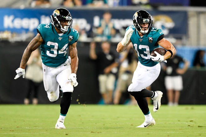 Jacksonville Jaguars wide receiver Michael Walker (13) of Naples High runs with the ball during the second quarter against the Philadelphia Eagles at TIAA Bank Field.