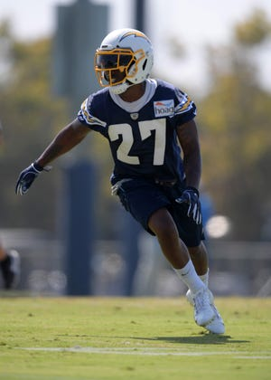 Los Angeles Chargers safety Jaylen Watkins (27) of Cape Coral during training camp at the Jack Hammett Sports Complex.