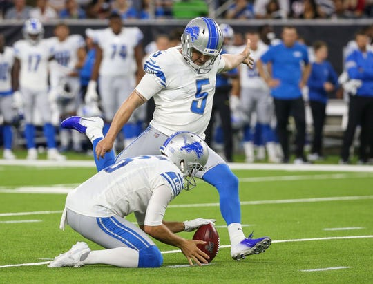 Detroit Lions kicker Matt Prater (5) of Estero attempts a field goal during the game against the Houston Texans at NRG Stadium.