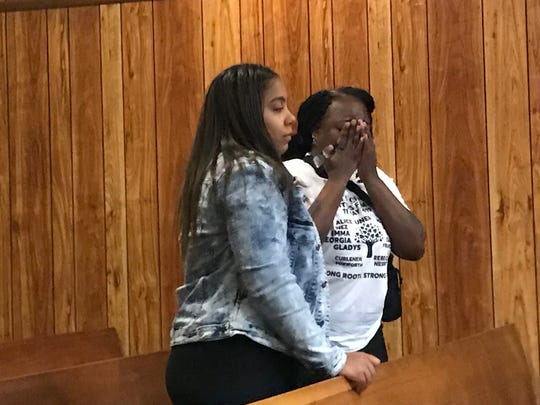 Kevaughn Wright's aunt, Yolanda Pugh (R ), and his girlfriend, Chantelle Rosario, begged the judge for mercy.