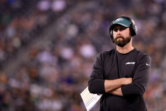 New York Jets vs. Philadelphia Eagles at MetLife Stadium in East Rutherford on Thursday, August 29, 2019. Jets Head Coach Adam Gase.