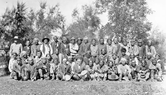 A group of former Navajo scouts is photographed circa 1926.