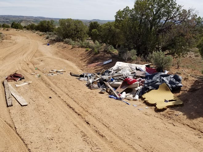 An undated photo shows an illegal trash dump site submitted through the Clean Up San Juan smartphone app. The app allows San Juan County Crews to respond more effectively to sites to clean them up.