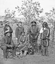 Capt. Herny H. Wright and a group of Navajos, possibly scouts, at Fort Definance, 1872-1878.