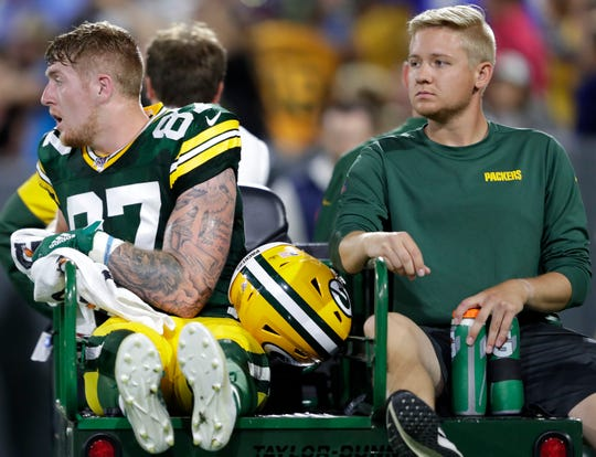 Green Bay Packers tight end Jace Sternberger is taken to the locker room on a cart against the Kansas Cirty Chiefs during their preseason football game Thursday, August 29, 2019, at Lambeau Field in Green Bay, Wis.